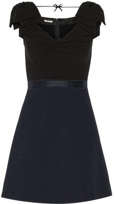 Miu Miu Two-tone cady and wool-crepe mini dress