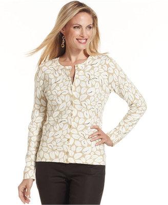 Charter Club Sweater, Long-Sleeve Leaf-Print Cardigan