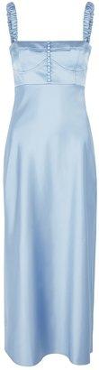 Anna October Angela Blue Satin Midi Dress