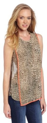 Vince Camuto Women's Sleeveless Contrast Trim Cheetah Spots Blouse