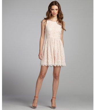 ABS by Allen Schwartz peach and cream lace scalloped hem sleeveless dress