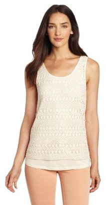 Vince Camuto Two by Women's Crochet Double Layer Tank