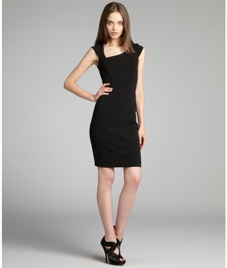 Jay Godfrey black stretch twill asymmetrical sheath dress