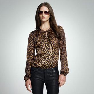 Jones New York Cheetah Printed Split Neck Blouse