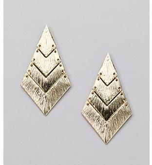 Erica Lyons® Goldtone Drop Diamond Pierced Earrings