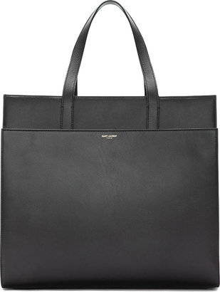 Saint Laurent Black Leather Flat Tote