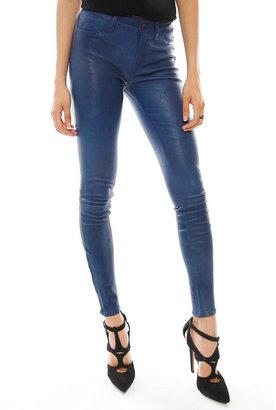 J Brand 5 Pocket Leather Legging in Coal