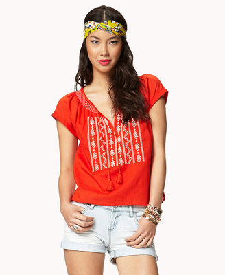 Forever 21 Embroidered Peasant Top