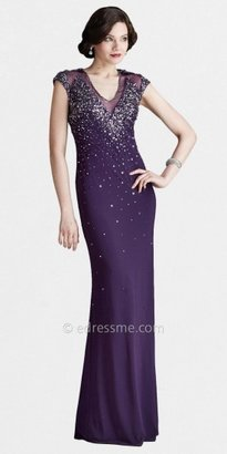 Mignon Illusion Neck and Back Jeweled Sequin Sewn Evening Gowns