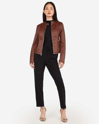 Express Vegan Leather Double Peplum Jacket