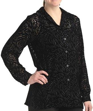 Petite Sophisticate Velvety Burnout Shirt - Long Sleeve (For Petite Women)