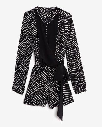 Intermix Exclusive For Printed Wrap Romper: Zebra