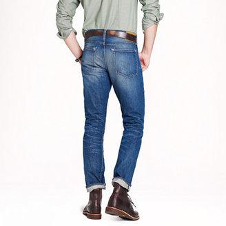 J.Crew Wallace & Barnes slim selvedge jean in White Oak Cone Denim® with deck fade wash