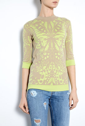 McQ by Alexander McQueen Bleached Neon Butterfly Jacquard Jumper