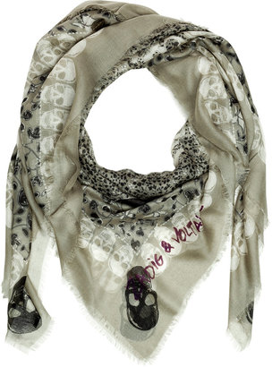 Zadig & Voltaire Light Olive Kerry Garden Scull Print Cotton Scarf