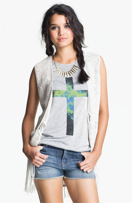 Absolutely Cotton Knit Fringe Vest (Juniors)