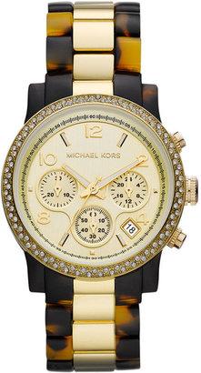 Michael Kors Watch, Women's Chronograph Gold-Tone Stainless Steel and Tortoise Acetate Bracelet 40mm MK5581