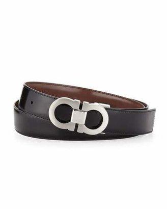 Salvatore Ferragamo Double-Gancini Reversible Calfskin Belt, Black/Brown $340 thestylecure.com