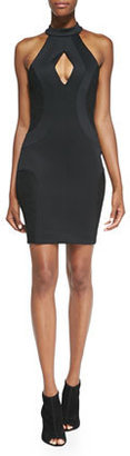 French Connection Scubalicious Cutout Body Conscious Dress, Black