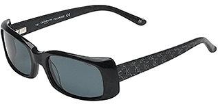 Liz Claiborne Rectangular Frame Sunglasses with Logo Arm - Carbon