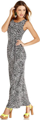 Spense Petite Dress, Sleeveless Printed Belted Maxi