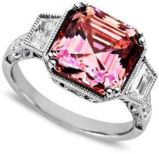 Arabella Sterling Silver Ring, Pink and White Swarovski Zirconia Princess Cut Ring (10-1/10 ct. t.w.)