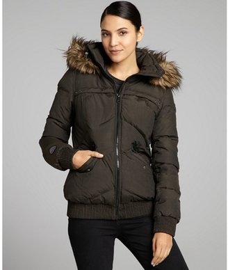 Soia & Kyo olive 'Fairy' short hooded down jacket with faux fur trim