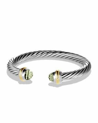 David Yurman Cable Classics Bracelet with Prasiolite and Gold $695 thestylecure.com