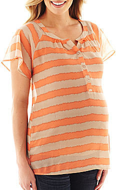 JCPenney Asstd National Brand Maternity Flutter-Sleeve Striped Chiffon Top