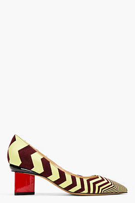 Nicholas Kirkwood Lime Green Zig-Zag Leather Red-Heeled Pumps