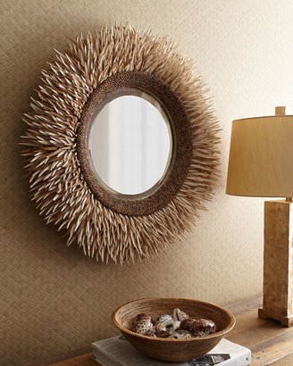 Horchow Round Coconut Shell Mirror