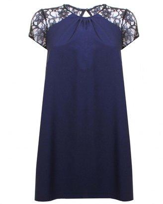 Love Navy Yolk Lace Shoulder Swing Dress