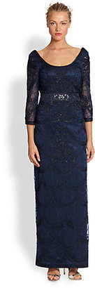 Sue Wong Embroidered Column Gown
