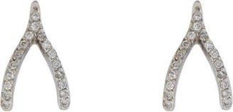 Jennifer Meyer Diamond & White Gold Wishbone Earrings