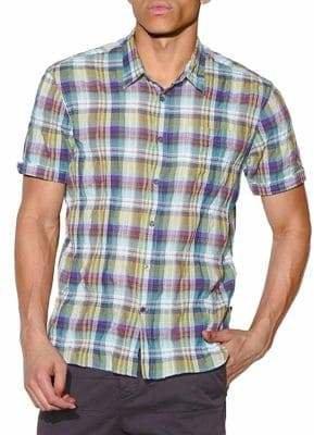 John Varvatos Clyde Short-Sleeve Plaid Shirt