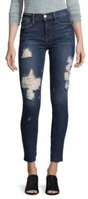 Frame Le High Rise Distressed Skinny Jeans