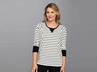 Vince Camuto Two by Women's Long-Sleeve Pinpoint Stripe Dolman Top