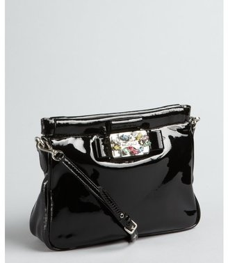Miu Miu Black Patent Leather Jeweled Convertible Baguette