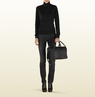 Gucci Vintage Web Leather Boston Bag