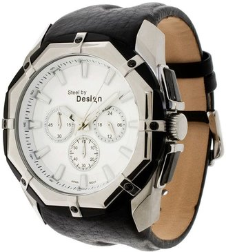 Stainless Steel Octagon Dial Leather Strap Watch