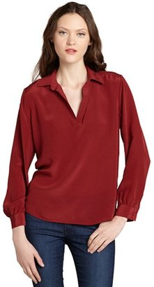 Wyatt scarlet collared v-neck blouse