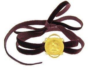 Cathy Waterman Framed Angel in 22 Karat on Ribbon Bracelet