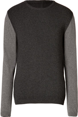 Oliver Spencer Waffle Knit Crewneck Pullover in Charcoal Grey