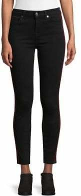 7 For All Mankind B(air) Denim High Waist Ankle Skinny Jeans with Double Velvet Stripes