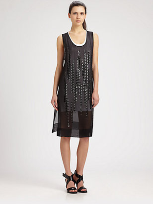 Robert Rodriguez Metallic Grid Dress