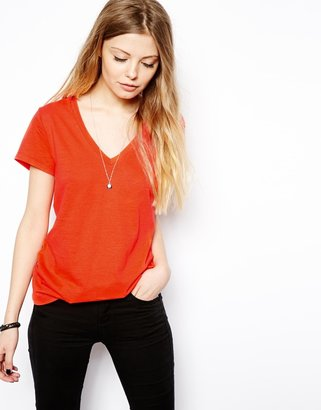 Asos T-Shirt with V Neck - Red