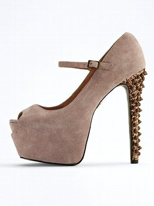 Betsey Johnson Bell Studded Suede Pump