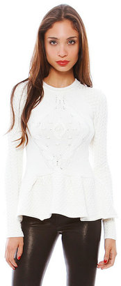 Torn By Ronny Kobo Layla Cable Knit Sweater Top in Ivory
