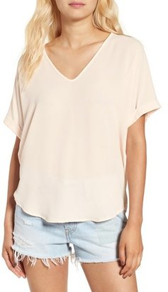 Lush Cuff Sleeve Woven Tee $34 thestylecure.com