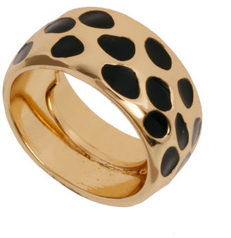 Kenneth Jay Lane Black and Gold Leopard Ring